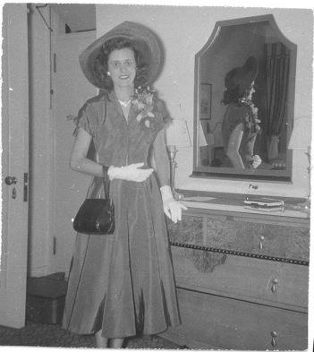 Mom, 1949, heading to England
